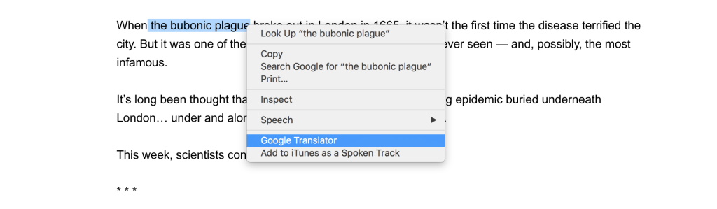 Google Translator in context menu