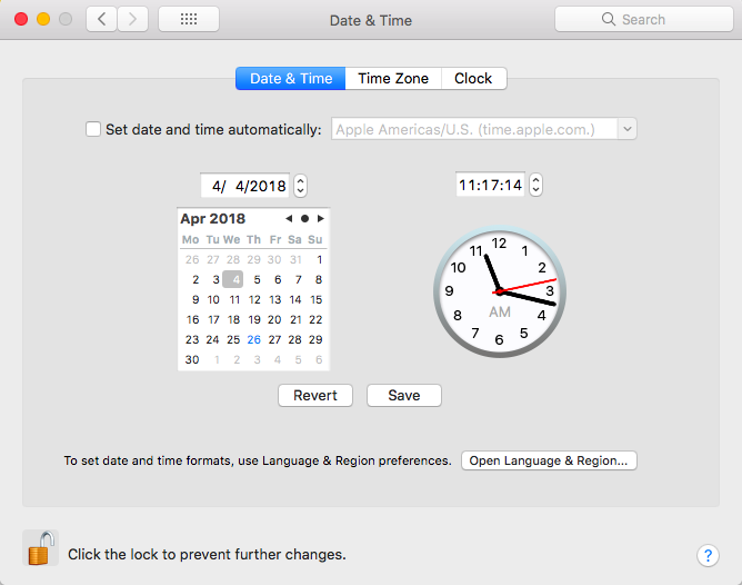 Date and Time Settings in Mac OSX