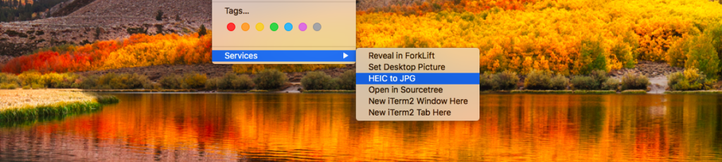 HEIC to JPG on right click in mac OS X context menu
