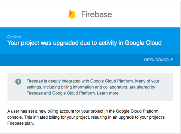 Your project was upgraded due to activity in Google Cloud