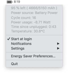 Free Better Battery Stats and Time Remaining for Mac OS