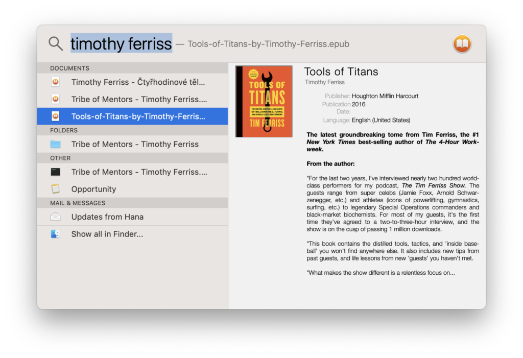 ePub spotlight plugin for Mac OS X