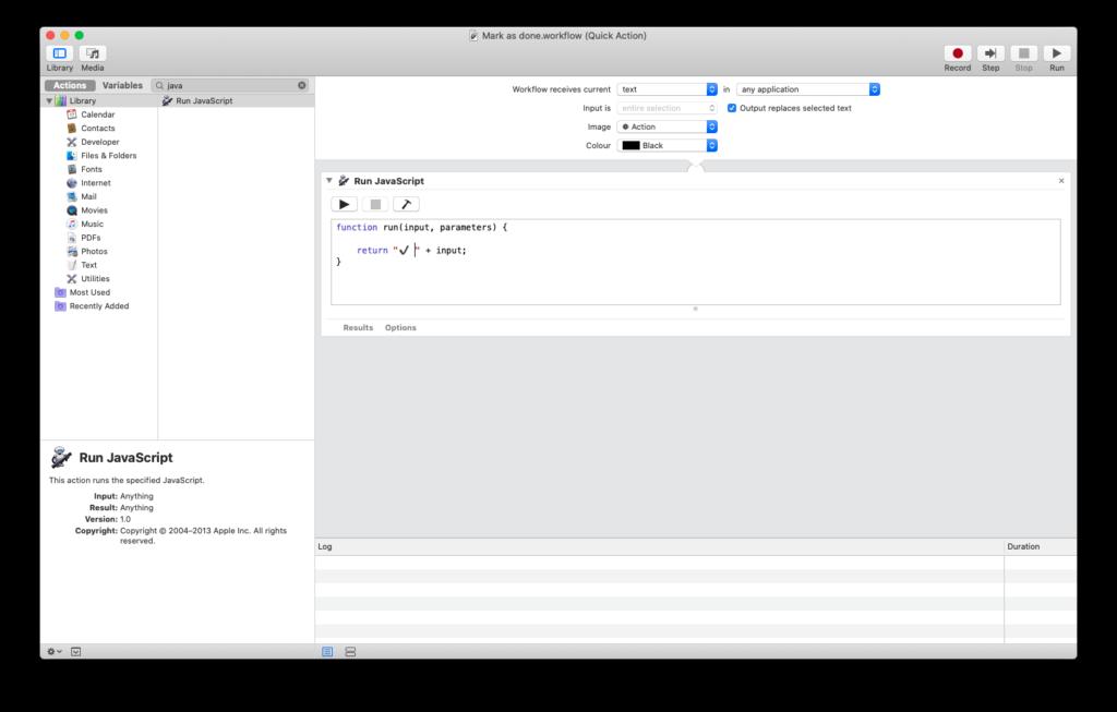 Automator - Google Calendar Mark Task as Done in Context Menu